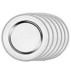 Beaded Charger Plates in Silver (Set of 6)