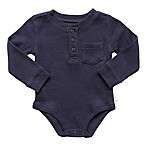 Planet Cotton® Crew Neck Long Sleeve Size 3M Henley Thermal Bodysuit in Navy