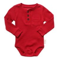 Planet Cotton® Crew Neck Long Sleeve Size 18M Henley Thermal Bodysuit in Red