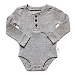 Planet Cotton® Crew Neck Long Sleeve Size 3M Henley Thermal Bodysuit in in Grey