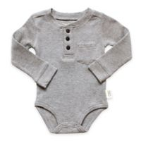 Planet Cotton® Crew Neck Long Sleeve Size 6M Henley Thermal Bodysuit in in Grey