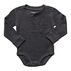Planet Cotton® Crew Neck Long Sleeve Size 9M Henley Thermal Bodysuit in Charcoal