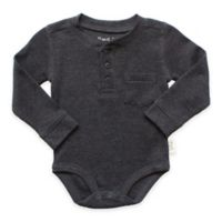 Planet Cotton® Crew Neck Long Sleeve Size 18M Henley Thermal Bodysuit in Charcoal