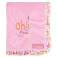 Trend Lab® Dr. Seuss™ Oh, the Places You'll Go! Ruffled Velour Receiving Blanket in Pink