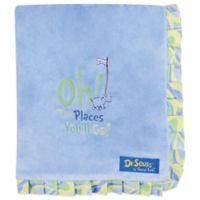 Trend Lab® Dr. Seuss™ Oh, the Places You'll Go! Ruffled Velour Receiving Blanket in Blue