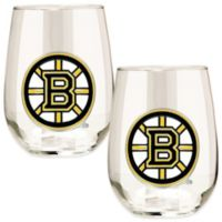 NHL Boston Bruins Stemless Wine Glass (Set of 2)