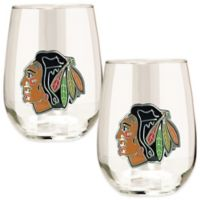 NHL Chicago Blackhawks Stemless Wine Glass (Set of 2)