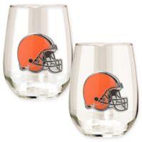 NFL Cleveland Browns Stemless Wine Glass (Set of 2)