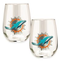 NFL Miami Dolphins Stemless Wine Glass (Set of 2)
