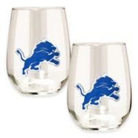 NFL Detroit Lions Stemless Wine Glass (Set of 2)
