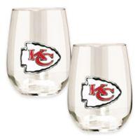 NFL Kansas City Chiefs Stemless Wine Glass (Set of 2)
