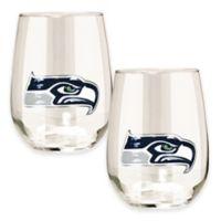 NFL Seattle Seahawks Stemless Wine Glass (Set of 2)