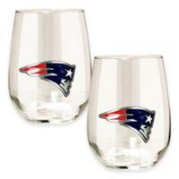 NFL New England Patriots Stemless Wine Glass (Set of 2)