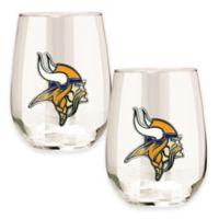 NFL Minnesota Vikings Stemless Wine Glass (Set of 2)