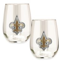 NFL New Orleans Saints Stemless Wine Glass (Set of 2)