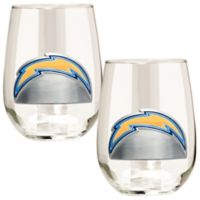 NFL San Diego Chargers Stemless Wine Glass (Set of 2)