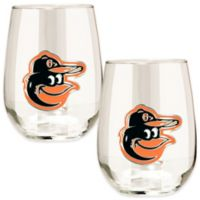 MLB Baltimore Orioles Stemless Wine Glass (Set of 2)