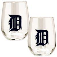 MLB Detroit Tigers Stemless Wine Glass (Set of 2)