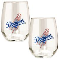 MLB Los Angeles Dodgers Stemless Wine Glass (Set of 2)