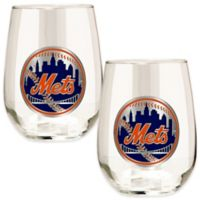 MLB New York Mets Stemless Wine Glass (Set of 2)