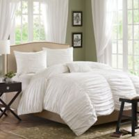 Madison Park Delancy Full/Queen Duvet Cover Set in White