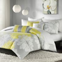 Madison Park Lola 6-Piece Reversible Full/Queen Duvet Cover Set in Yellow/Grey