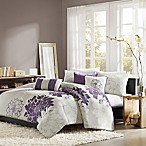 Madison Park Lola Reversible Full/Queen Duvet Cover Set in Grey/Purple