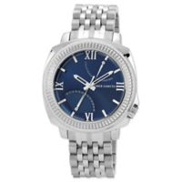 Vince Camuto® Veteran Men's 43.5mm Blue Woven Link Watch in Stainless Steel