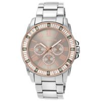 Vince Camuto® Ladies' 42.5mm Crystal-Accented Rose Goldtone Sunray Dial Watch in Stainless Steel