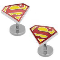 Enameled Textured Superman Shield Cufflinks