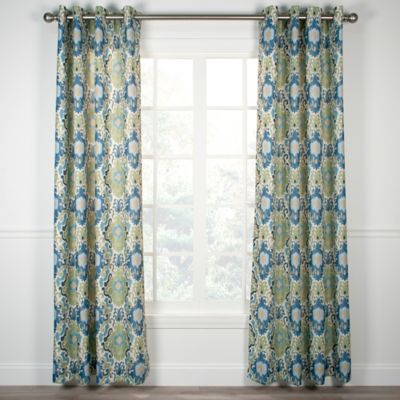 Tuscany 63 Inch Grommet Top Window Curtain Panel in Blue. Buy 63 Inch Curtain Grommet from Bed Bath   Beyond