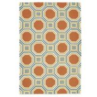 Kaleen Escape Pumpkin Tiles 4-Foot x 6-Foot Indoor/Outdoor Rug in Orange