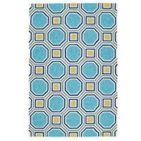 Kaleen Escape Pumpkin Tiles 5-Foot x 7-Foot 6-Inch Indoor/Outdoor Rug in Blue