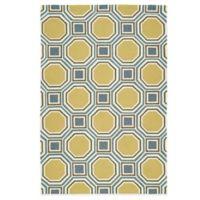 Kaleen Escape Pumpkin Tiles 5-Foot x 7-Foot 6-Inch Indoor/Outdoor Rug in Gold