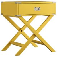 Verona Home Callie Campaign Accent Table in Yellow