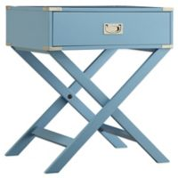Verona Home Callie Campaign Accent Table in Blue