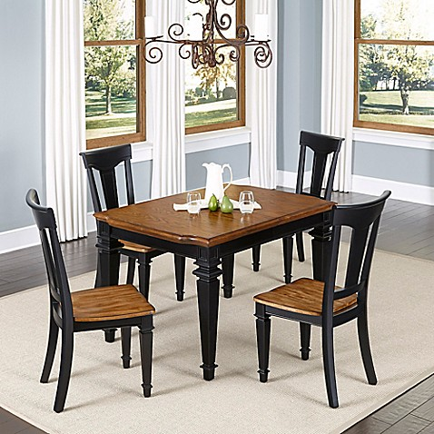 styles americana 5 piece dining set in black oak bed bath beyond