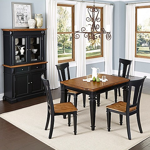 styles americana 5 piece dining set with buffet and hutch in black oak
