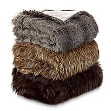 Beau Faux Fur Wolf Throw Blanket