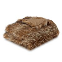 Faux Fur Wolf Throw Blanket in Brown