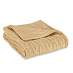 Acrylic Cable Knit Throw in Camel