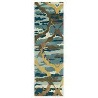 Kaleen Brushstrokes Ikat 2-Foot 6-Inch x 8-Foot Runner in Blue