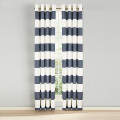 NauticaR Cabana Stripe 84 Inch Grommet Top Light Blockage Window Curtain Panel Pair In