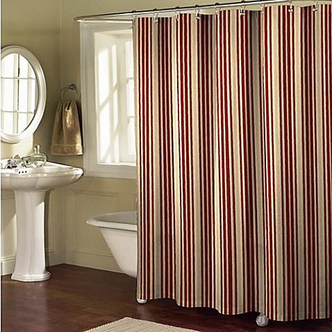Sorrento Stripe Shower Curtain In Burgundy Tan