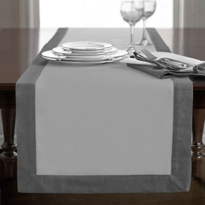 Superior Wamsutta® Bordered Linen 72 Inch Table Runner In Grey
