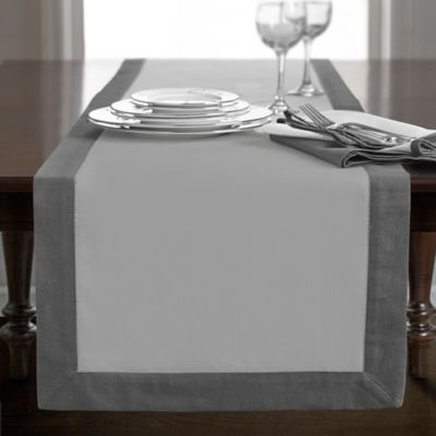 Marvelous Wamsutta® Bordered Linen 108 Inch Table Runner In Grey