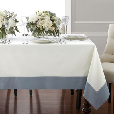 Wamsutta® Bordered Linen 70 Inch X 90 Inch Oblong Tablecloth In Blue