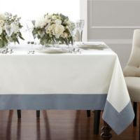 Wamsutta® Bordered Linen 70-Inch x 104-Inch Oblong Tablecloth in Blue