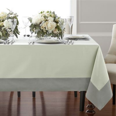 Captivating Wamsutta® Bordered Linen 70 Inch X 90 Inch Oblong Tablecloth In Sage