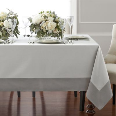 Wamsutta® Bordered Linen 70 Inch X 120 Inch Oblong Tablecloth In Grey